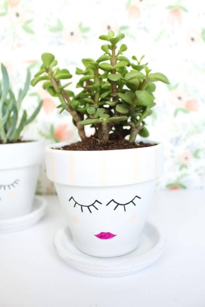 Painted Face Planters Pots