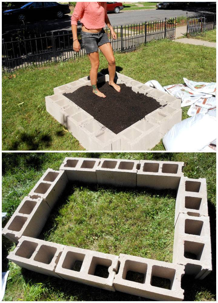 Raised Bed with Cinder Blocks