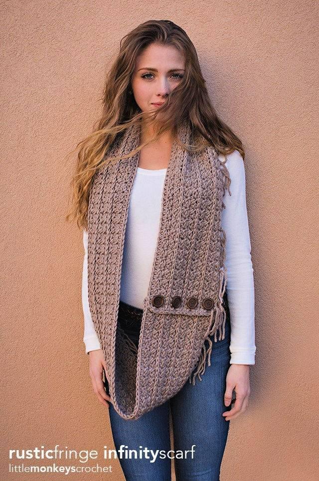 Rustic Crochet Fringe Infinity Scarf