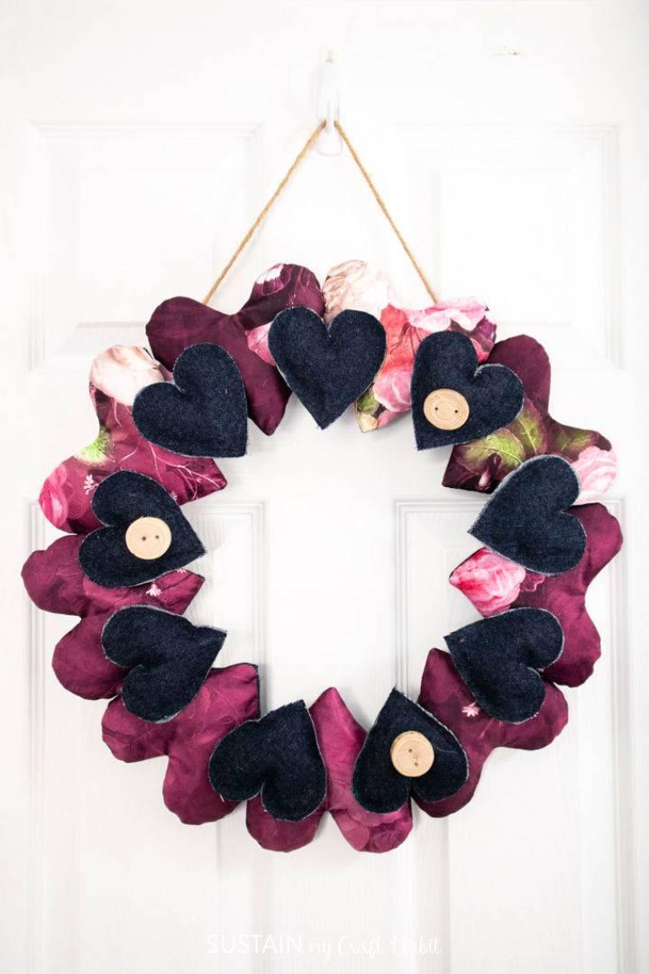 Scrap Fabric Hearts Wreath