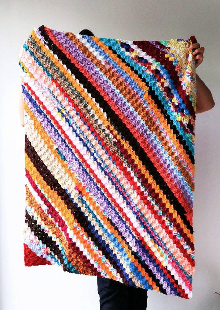 Scrappy Corner To Corner Crochet Blanket