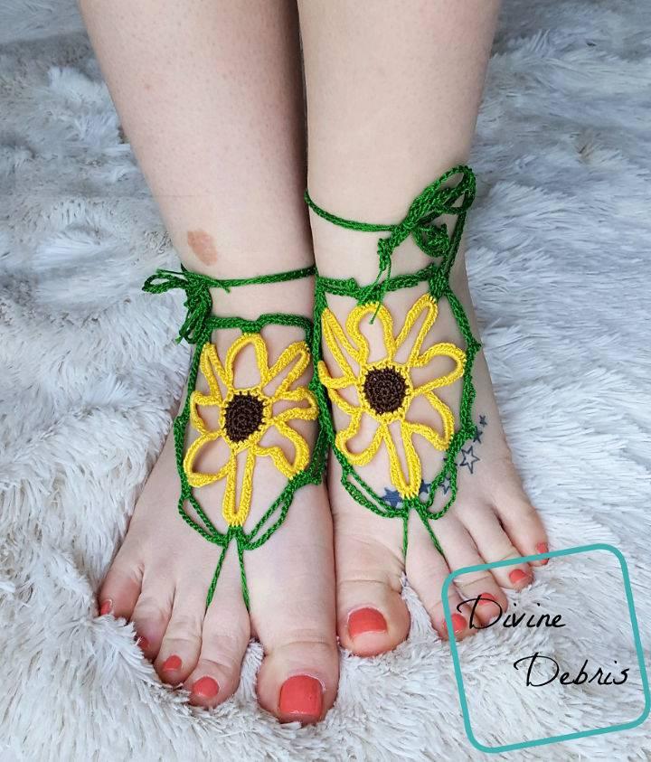 Sunflower Barefoot Sandals Crochet Pattern