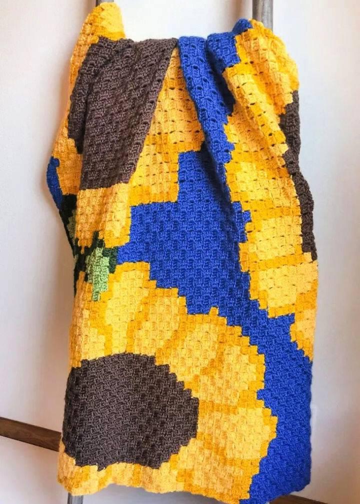 Sunflower C2C Crochet Blanket Pattern