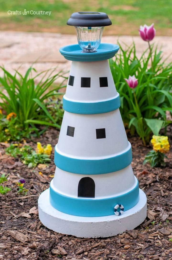 Terra Cotta Pot Lighthouse Garden