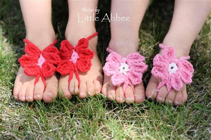 Toe Flower Crochet Barefoot Sandals