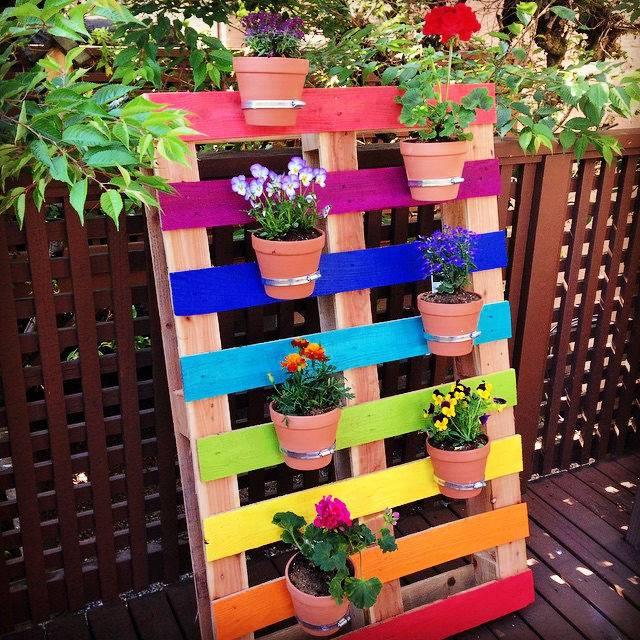 Upcycled Rainbow Pallet Flower Garden Planter