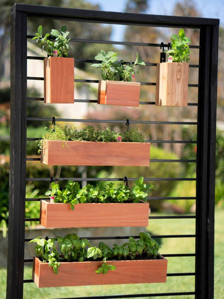Vertical Herb Garden from a Fence