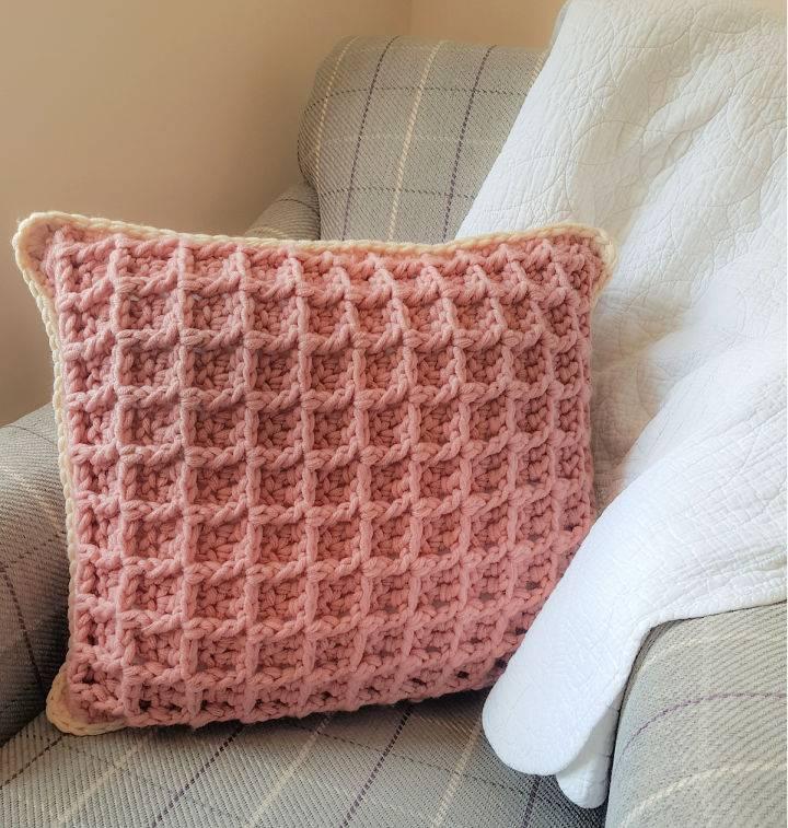 Waffle Stitch Crochet Pillow
