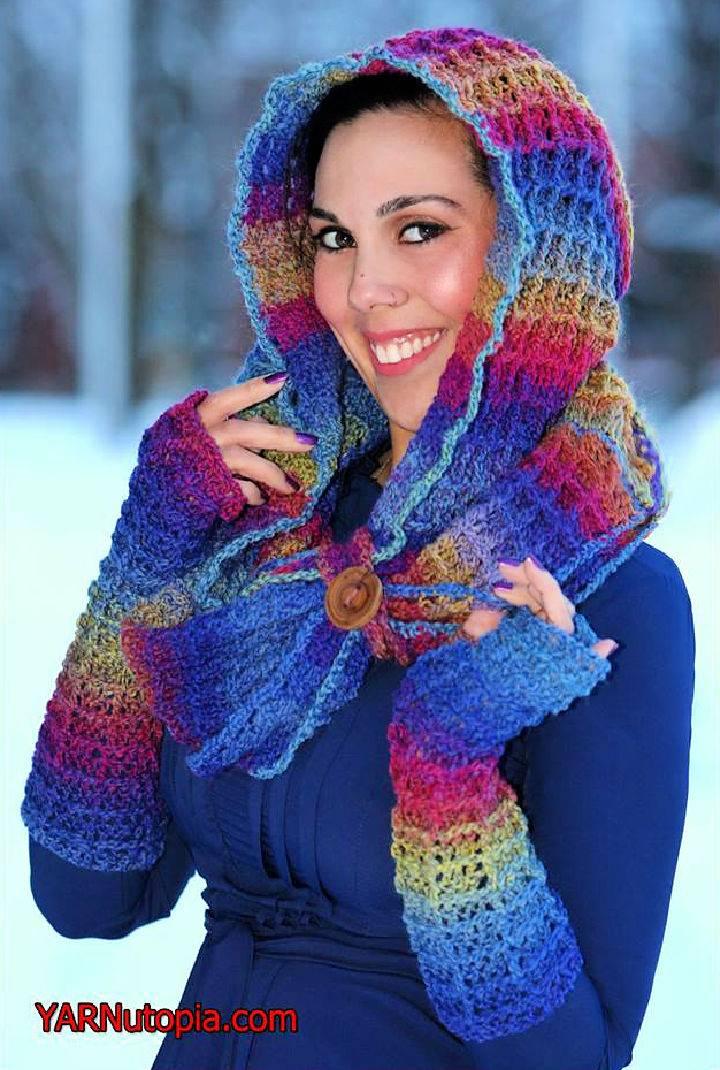 Warm Waffles Crochet Hooded Cowl