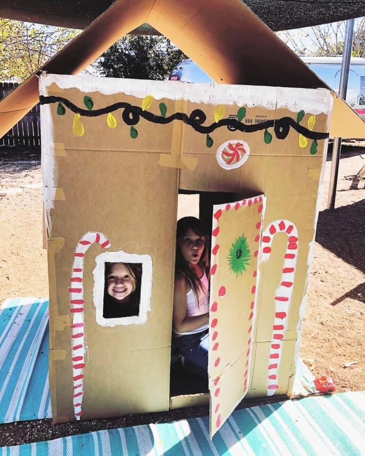 cardboard playhouse for kids to play