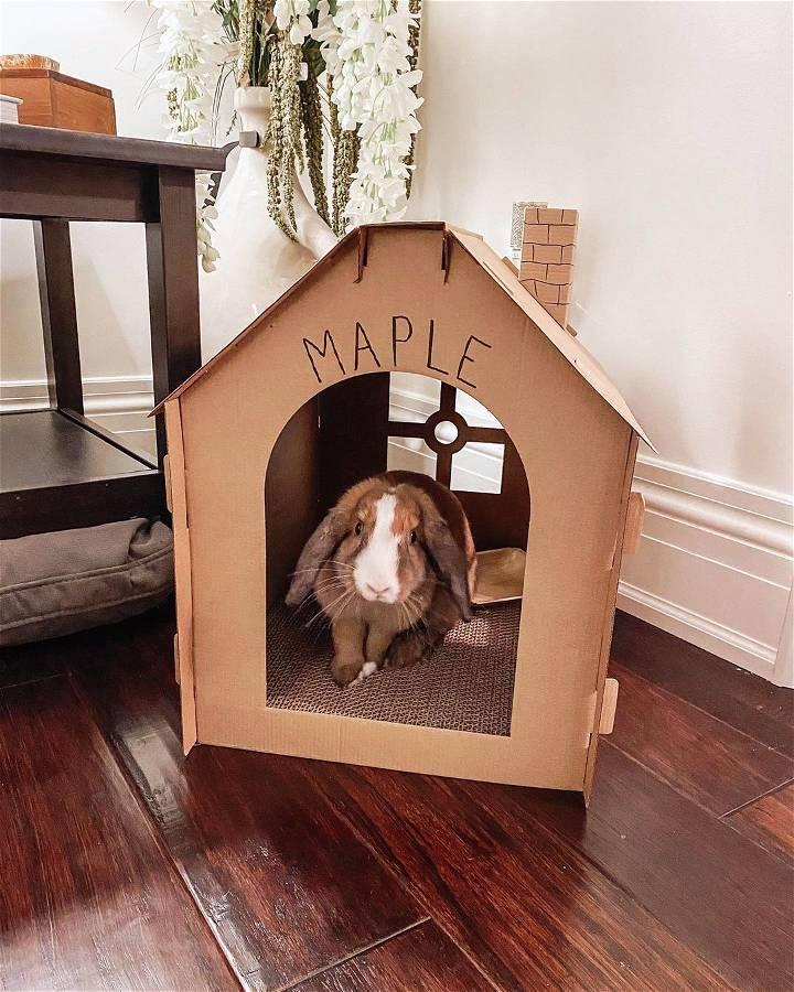 diy cardboard rabbit house