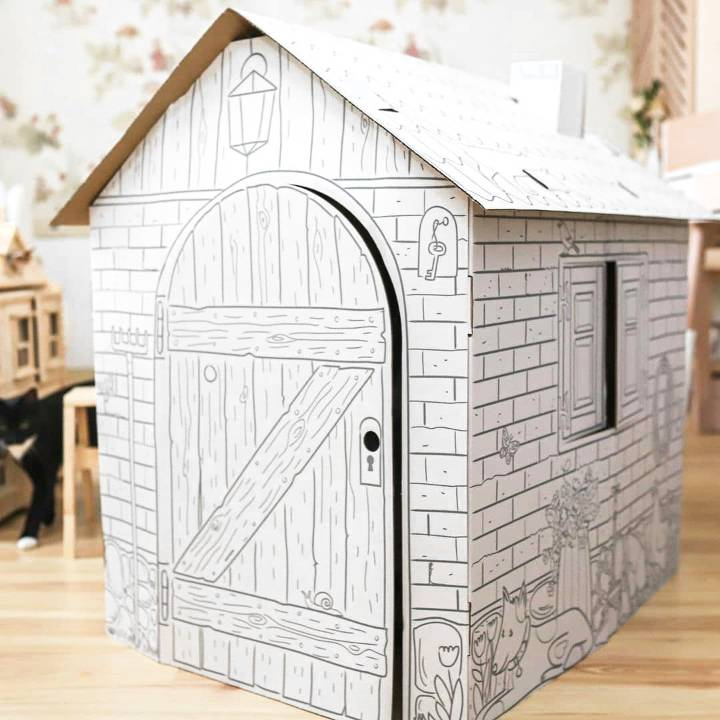 easy to make cardboard box house for kids to play