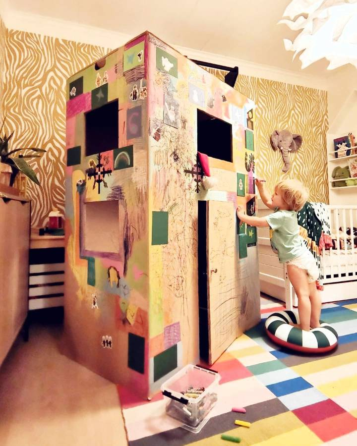 large DIY cardboard house idea for kids to play