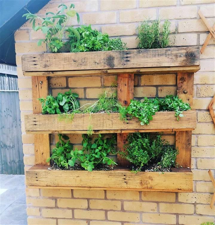 simple wooden pallet herb gardening idea