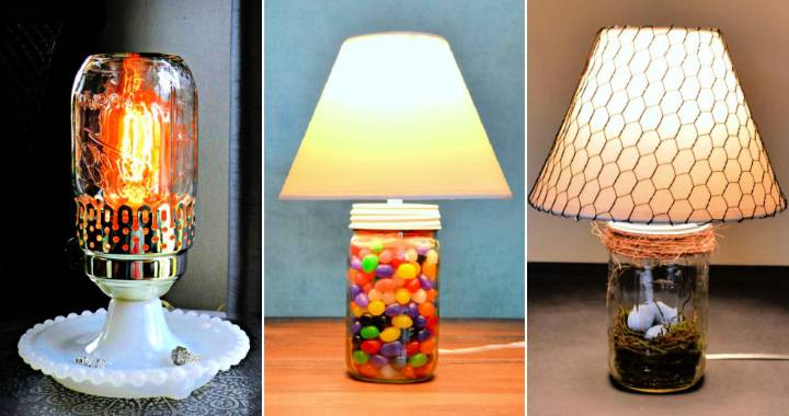 10 DIY Mason Jar Lamp Ideas
