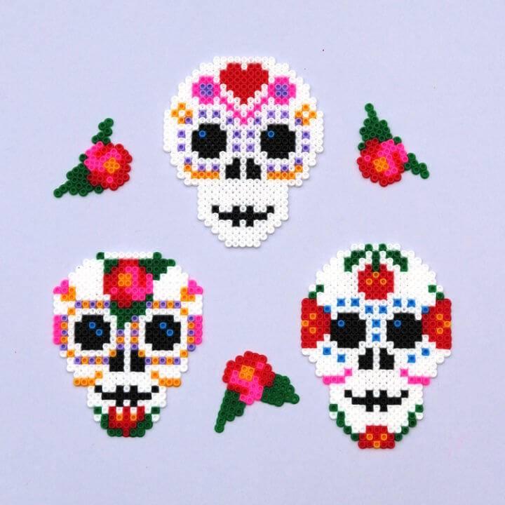 Day of the Dead Perler Bead Skulls