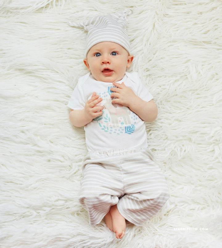 Easy Sew Baby Pant and Matching Hat