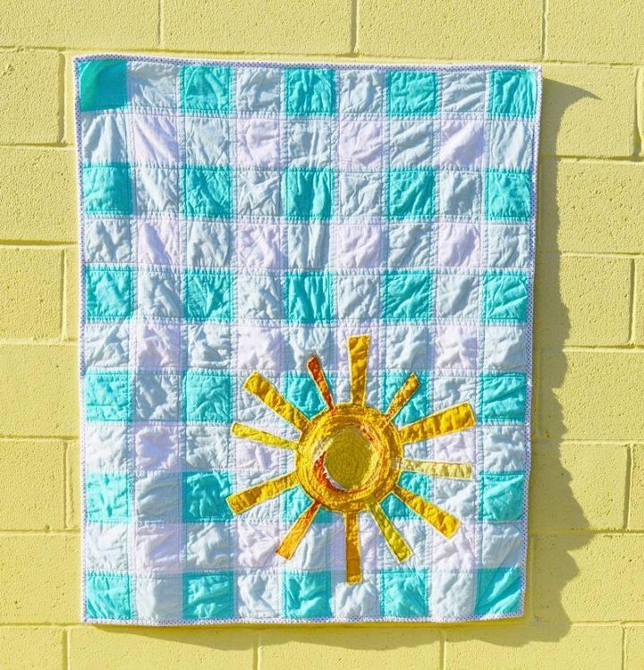 Favorite Crinkled Frayed Sunshine Gingham Quilt
