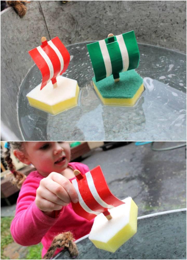 Making Sponge Boat Toy