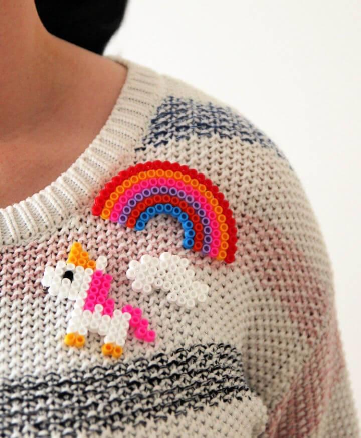 Perler Bead Rainbow and Unicorn Brooches