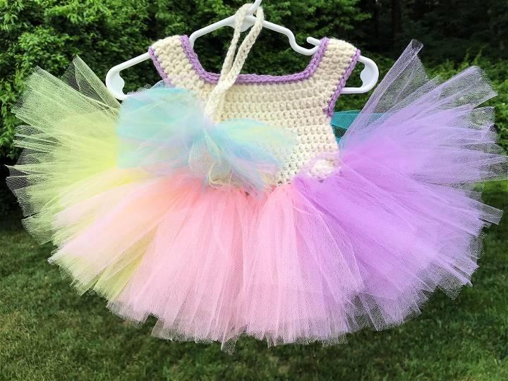 Rainbow Sherbet Crochet Tutu Top