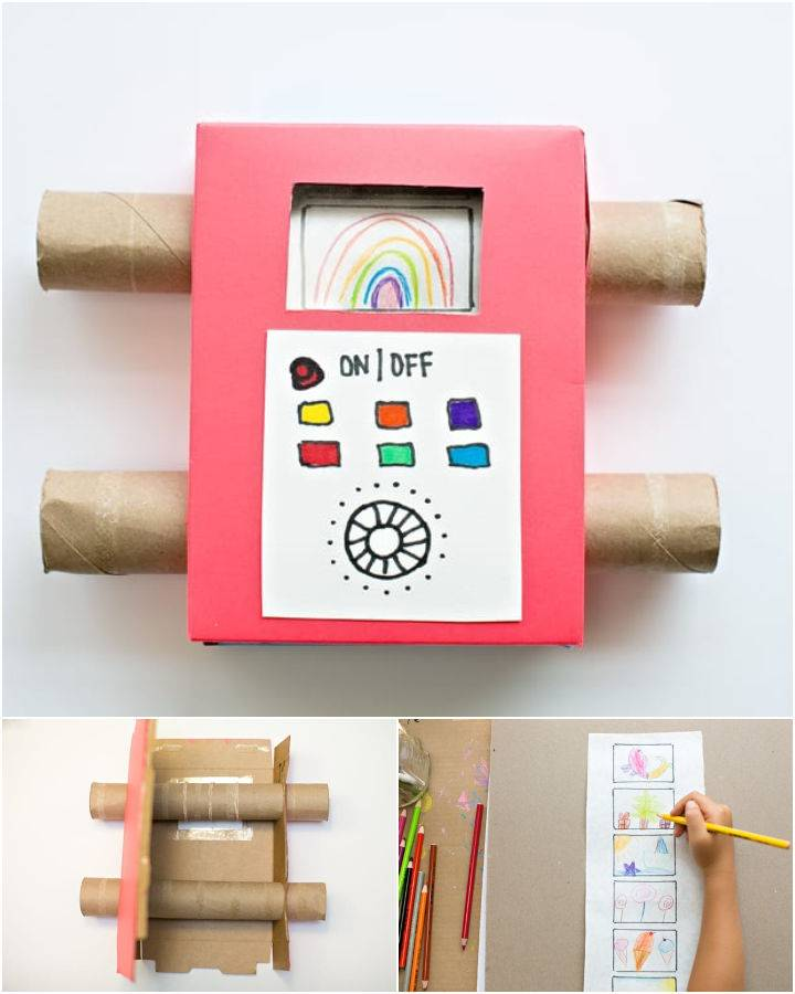 Recycled Cardboard TV Showing Off Your Kids Art