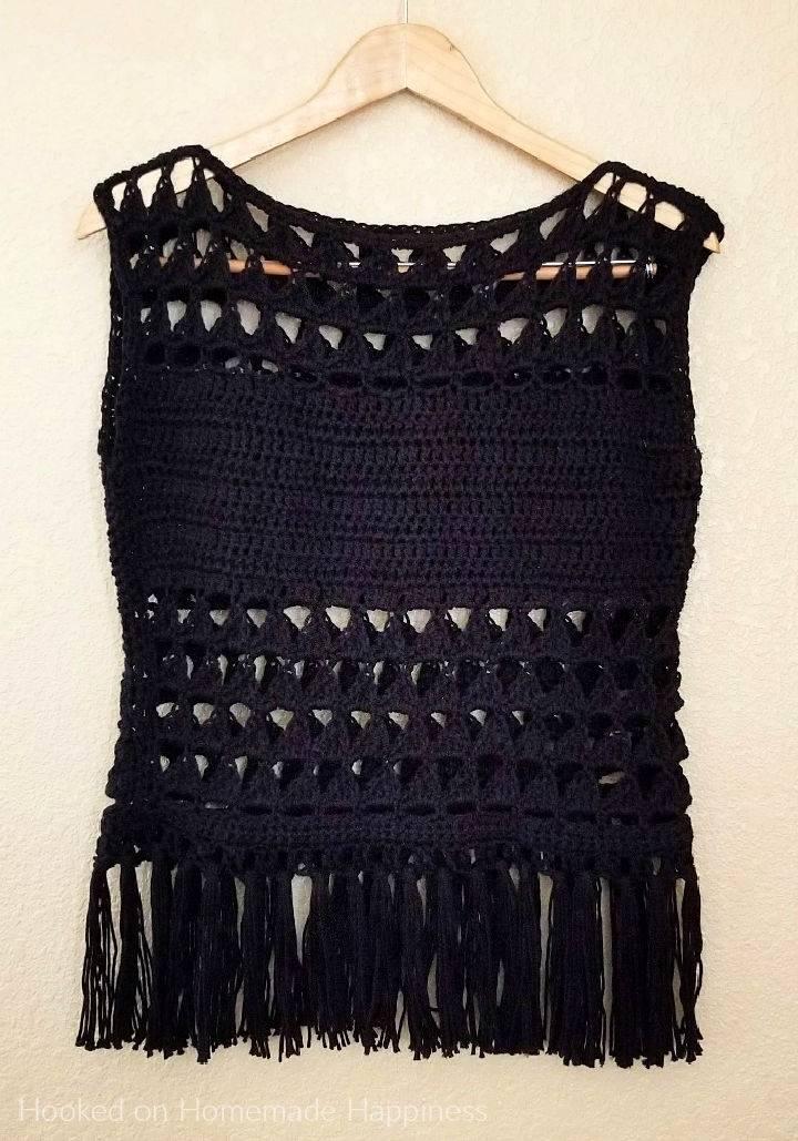 Triangles Fringe Crochet Black Top Pattern
