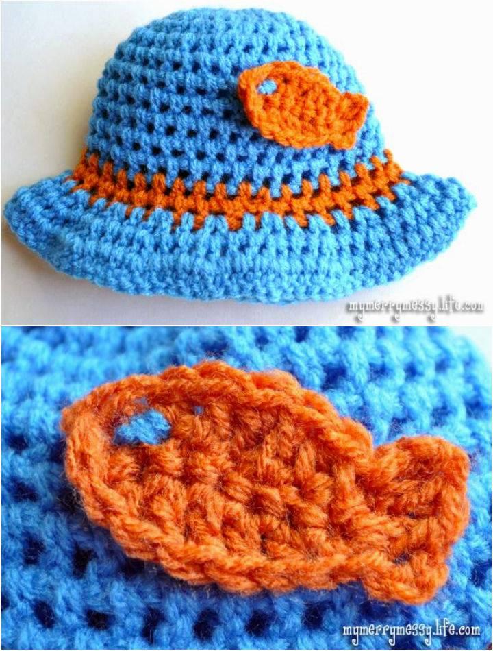 Crochet Goldfish Applique For Hat