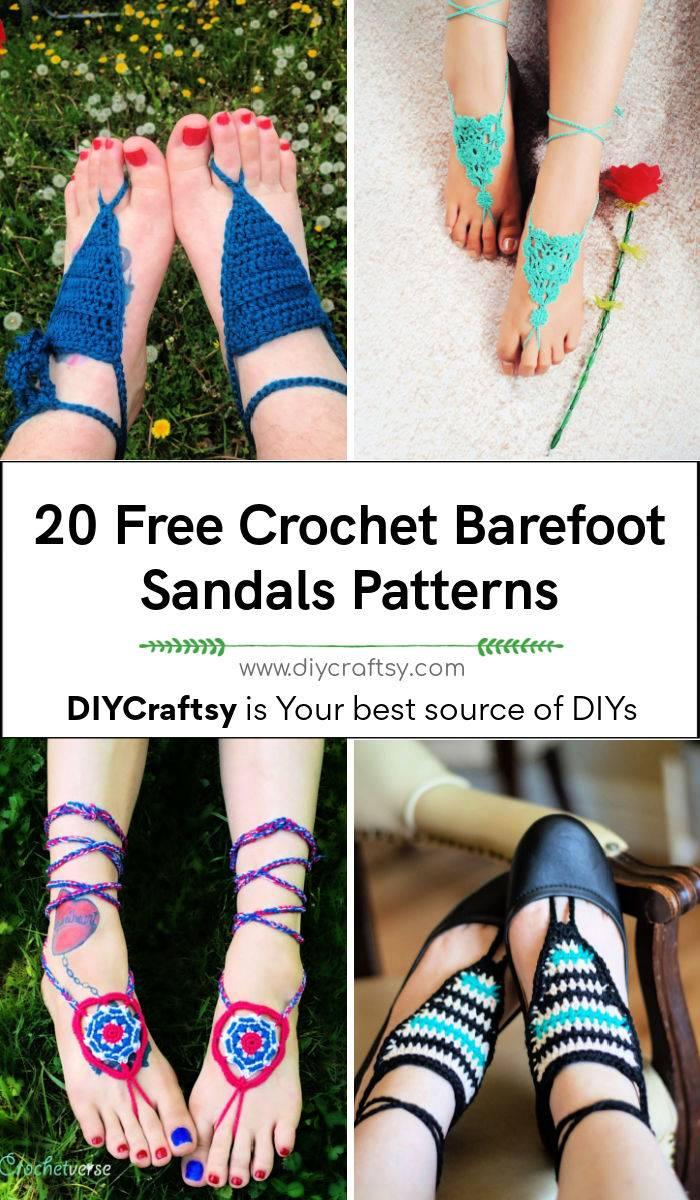 free crochet barefoot sandals pattern