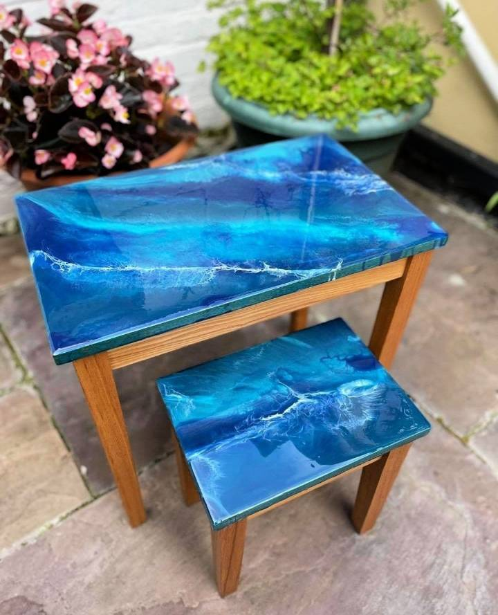 how to make an epoxy ocean table
