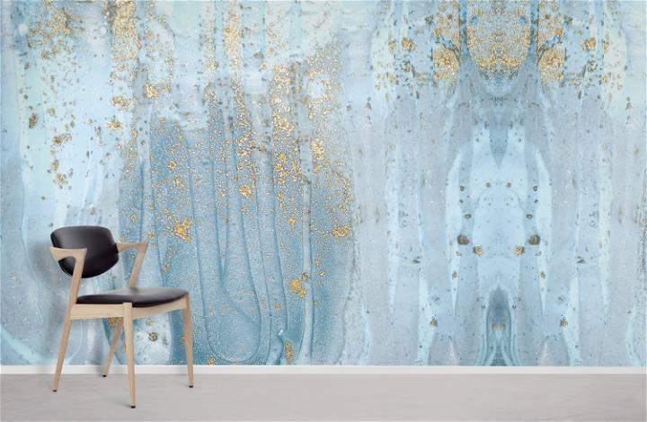 blue metallic wallpaper mural