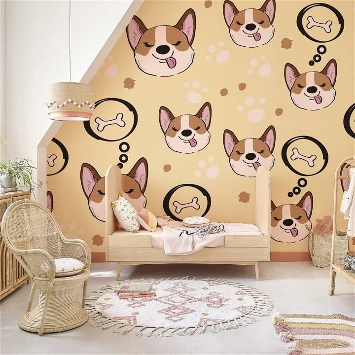 corgi pattern wallpaper mural nursery room