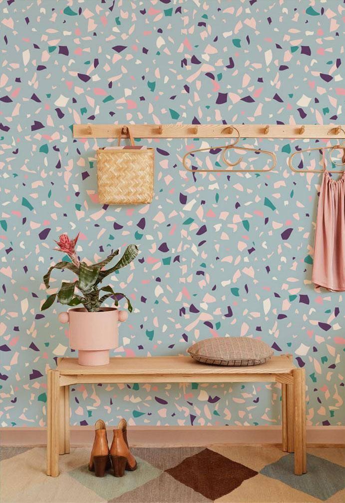 fragments blue terrazzo wallpaper mural living room