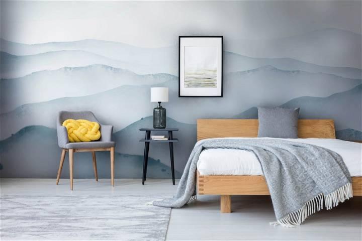 mountain watercolor mural wallpaper bedroom