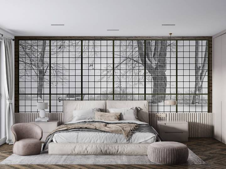 snow view wallpaper mural bedroom